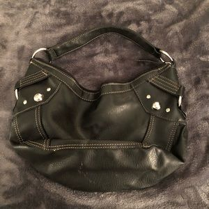 Handbags - Black Studded Shoulder Handbag